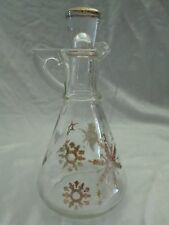 Vintage Hazel Atlas Gay Fad Glass Cruet with Stopper Snow Flake Design