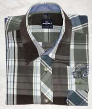 Herrenhemd Freizeit Hemd Langarm ENGBERS Gr. L blau/olive/grau/weiß kariert