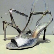 $98 Ralph Lauren Sedona Evening Sandals, Leather, Silver, SIZE MISMACH L7; R 7.5