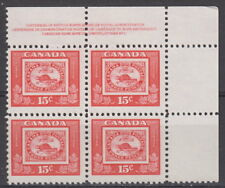 CANADA #314 15¢ Stamp Centenary UR Plate #1 Block MNH - A