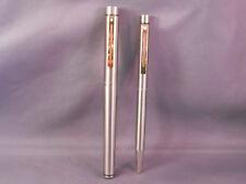 Sheaffer White Dot Targa Fountain Pen/ball pen Set --Brushed chrome-gold clips