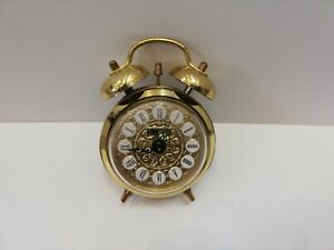 JERGER SMALL DOUBLE BELL CLOCK WITH ALARM WEST GERMANY BRASS COLOURED 1950/60