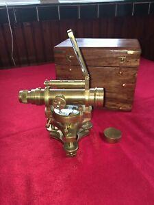 Theodolite: A Lovely Clean Condition Brass Theodolite Stamped Askania Werke 26