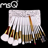 15Pcs Makeup Brush Set Pro Make up Cosmetic Brushes Kit + Pouch Case Bag Hot MSQ