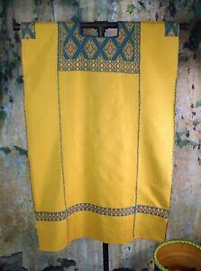 M/L Huipil Short Dress Gold & Teal Handwoven Backstrap Loom Maya Chiapas Mexico