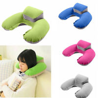 Portable Travel Inflatable Pillow U Shape Blow Up Neck Cushion PVC Flocking