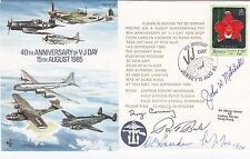 Rare AC20 40th Anniv V J Day Flown Hong Kong Signed 4 Pilots shooting down Yamam