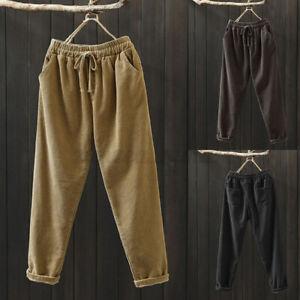 ZANZEA Women Corduroy Elastic Waist Winter Pants Ladies Wide Leg Harem Trousers