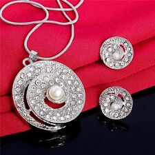 Silver Gold Plated Circle Jewelry Set Rhinestone Crystal Pearl Necklace Earrings