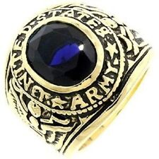 18K EP GOLD  US ARMY MILITARY INLAY RING sz 12 or Y SAPPHIRE