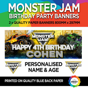 2 x MONSTER JAM TRUCK BIRTHDAY PARTY PAPER BANNERS PERSONALISED 800mm x 287mm
