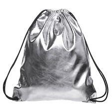 Women Fashion Silver  Draw String Hiking Gym Bag Backpack School Bookbag