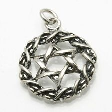 NEW 925 Jewish star of David woven encircled Pendant Oxidized Sterling Silver