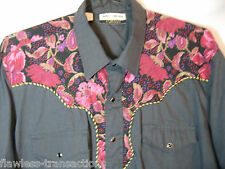 GOLD COLLECTION Beautiful Men's Western Pearl Snap Cowboy Shirt Sz L 17.5 x 34