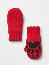 NWT BABY GAP GIRL'S MODERN RED HEARTS GRAPHIC MITTENS 100% ACRYLIC (S/M)