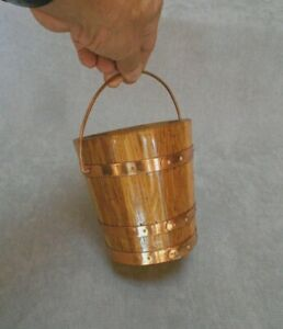 Vintage french tiny  Oak wood traditional BUCKET Planter