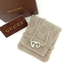 Gucci Necklace Pendant Interlocking Silver Woman Authentic Used Y3854