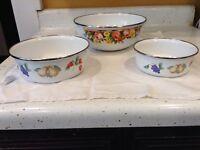 Handpainted Enamel Bowls Set Of 3 Flowers Fruits Grapes Pear