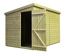 10x4 Garden Shed Shiplap Pent Roof Tanalised Pressure Treated Door Left End