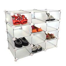 Nuevo almacenamiento de zapatos 12 compartimentos con unidad de plástico blanco caja de interbloqueo extremos