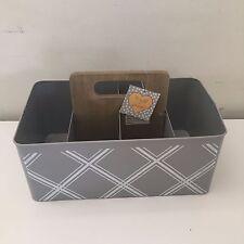 Tin Storage Bin Box Desktop Organizer Container Basket Case Metal Sheffield Home