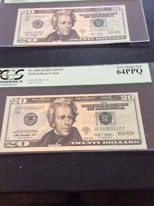 F.R.#2096-D 2009 $20 F.R.N.Serial#S JD00000110-JD00000190.Low 3 Digit,9 Notes.