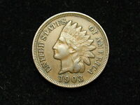SPRING SALE!!  AU 1903 INDIAN HEAD CENT PENNY w/ FULL LIBERTY & DIAMONDS #46j