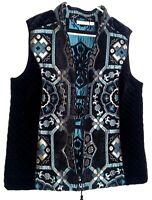 Susan Graver tapestry velour quilted zip front Black vest size 12