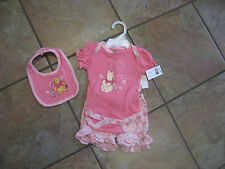 Disney Pooh & Piglet 3-Piece Short Set - 3/6 months w/ embroidered bib