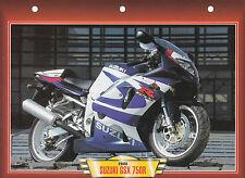 CARTE FICHE MOTO .  SUZUKI  GSX  750 R .    FICHE NEUVE