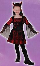 New Girls Size L (6-7) GOTHIC DEVIL Halloween Costume 2pc Velvet Dress+Horns Set