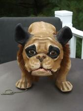 French Bulldog Pull Toy on Wheels Mouth Opens Growls Glass Eyes Nodding Head