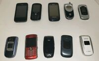 Assorted Cell Phone Lot for parts Flip Phone BlackBerry Samsung T-Mobile sprint