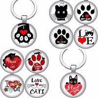 Cat Keyring Gift Keychain Key Ring Silver Fob Kitten Lover Ladies Handmade (TJ)