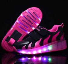 LED Heelys Wheels Boys Girls Shoes Skates Kids Light up Roller Skate Trainers LW Rose Black EU 33 / UK 1 / 21 Cm