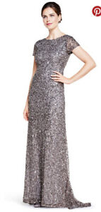 BNWT Adrianna Pappell Size 10 Silvergrey Sequin Gown  RRP US$280