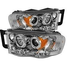 Projector Head Lights Lamps Dodge Ram 1500-3500 02-05 HALO LED - Chrome