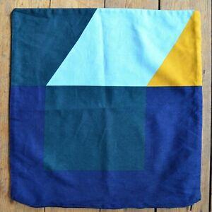 IKEA MAJALISA Blue Yellow Abstract Geometric Cotton Cushion Cover 50 x 50 cm