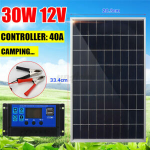 30W 12V Solar Panel Battery Charger+40A Controller For RV Car Boat Home F R