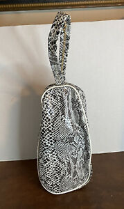 "Vintage 1950s Vinyl Shoe Triangle Carrier Case Bag Black White Snakeskin 12"""