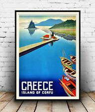 Greece Corfu : Reproduction Travel advert, poster, Wall art.