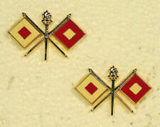 US Army Officer Signal Corps Shiny Collar Branch Insignia Pin Set Packaged