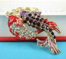 Lover Carp Fish Pendent Charm Chain Rhinestone Crystal Purse Bag Key Ring Gift