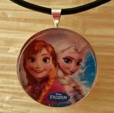 """ELSA & ANNA Disney's Frozen"" Glass Pendant with Leather Necklace"