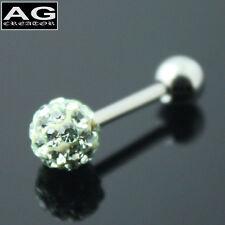 A single light green snow ball barbell earring stud piercing 18g US SELLER