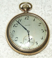 Antique Working 1926 ELGIN 17j  Art Deco Gold Pocket Watch; ELGIN NATL WATCH CO