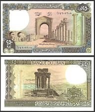 Lebanon 250 LIVRES 1988 P 67e UNC