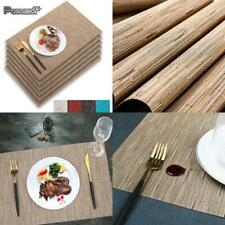 Ivalue Bamboo Place Mats for Kitchen Table Set of 6 Washable Vinyl Table Mats