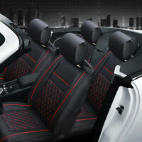 Universal PU Leather Car Seat Covers Cushions Front Stitching Black with Red BL