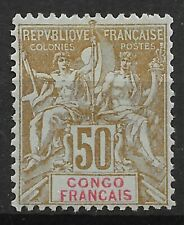 CONGO TYPE GROUPE 50c BISTRE ET ROUGE N° 45 NEUF * GOMME AVEC CHARNIERE